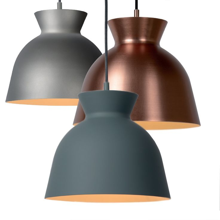 Suspension decorative au style scandinave avec reflecteur metallique diametre 28 cm de couleur gris, vert ou cuivre.