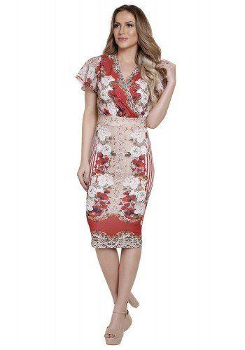 e0fd7073c modelo cabelo loiro veste saia lapis cos alto midi com estampa de listras  floral e arabescos