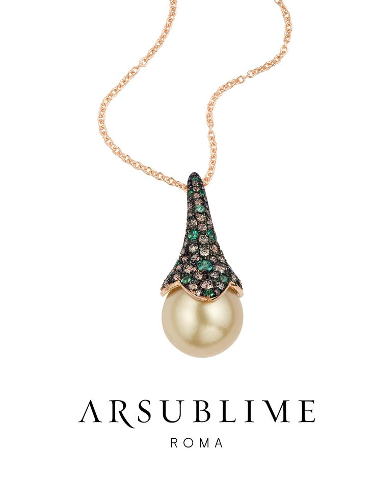 Giglio brown  #arsublime #gilgio #brown #pendant #diamond #gold #pearls #emeralds #pinkgold #italianartisanaluxury #gioielli #italiani #finejewellery #madeinitaly #roma #passion #style #pendente Discover on: http://www.arsublime.it/collezione/classica/