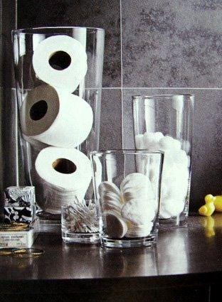 Einrichtungsideen für das Badezimmer Einfache Aufbewahrung im Glas: Ideal für alle, die ihr Badezimmer nicht mit …