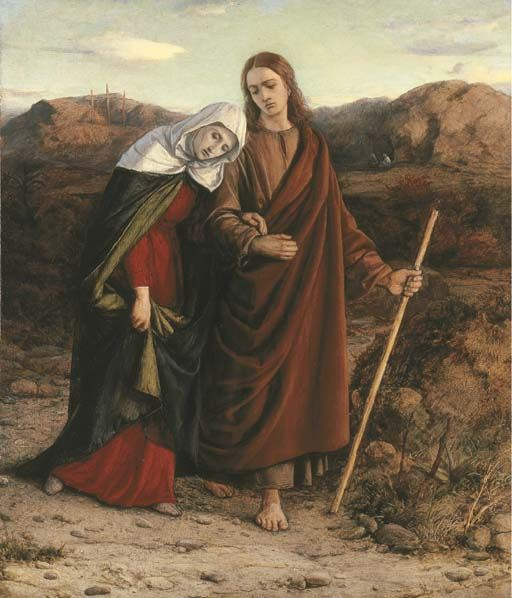 """""""Behold, your mother.""""  St John taking Mary home by Dyce.......Seeing his mother there with the disciple whom he loved, Jesus said to his mother, """"Woman, there is your   son.""""  (Jn. 19: 26)......... In turn he said to the disciple, """"There is your Mother.""""  From that hour onward, the disciple took her into his   care.  (Jn. 19: 27)  -"""