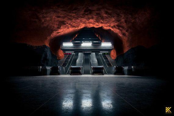 Solna Centrum Metro  Stockholm Tunnelbana by KSPhotographyStore