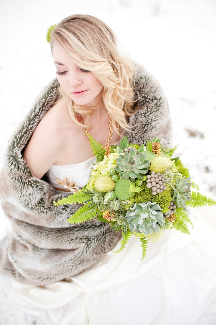 Succulents for a winter wedding- like the idea but this bouquet is way to GIANT