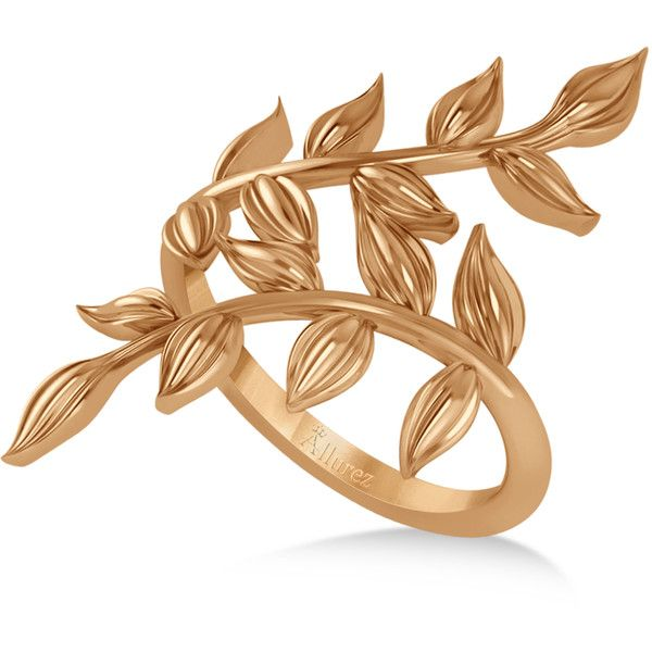 Allurez Olive Leaf Vine Plain Metal Fashion Ring 14k Rose Gold ($745) ❤ liked on Polyvore featuring jewelry, rings, leaves ring, rose gold jewelry, rose ring, rose jewelry and pink gold ring