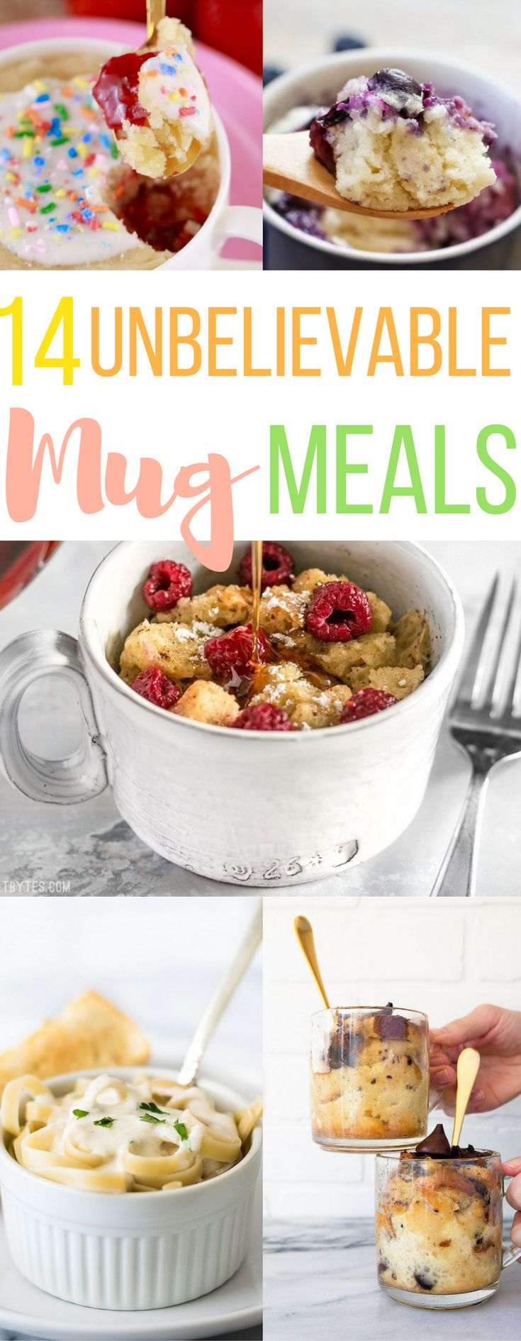 14 unbelievable meals you can make in a mug. mug french toast banana bread pasta breakfast dinner dessert great for on the go busy moms meals teens college food easy microwave lazy girl cake mug hacks hinthacks.com