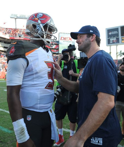 Tony Romo Photos Photos - Quarterback Jameis Winston #3 of the Tampa Bay Buccaneers talks with quarterback Tony Romo #9 of the Dallas Cowboys at the end of the game at Raymond James Stadium on November 15, 2015 in Tampa, Florida. The Buccaneers beat the Cowboys 10-6. - Dallas Cowboys v Tampa Bay Buccaneers