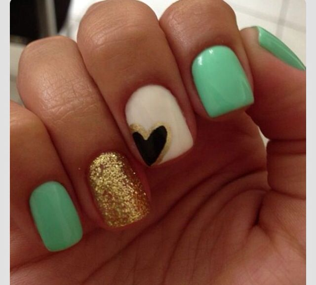 Teal, gold, white and black heart nails