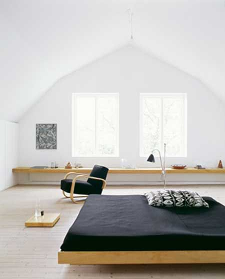 """Minimalist bedroom"" really like it... except without the black... will replace the colour scheme with white and baby blue :)"