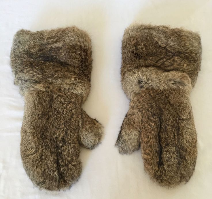 """Unisex Long Brown Rabbit Fur Leather Mittens 18"""" Long Tall Full Length Sz XL #Unknown #Mittens"""
