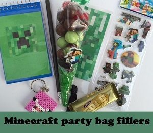 Minecraft birthday party bag fillers
