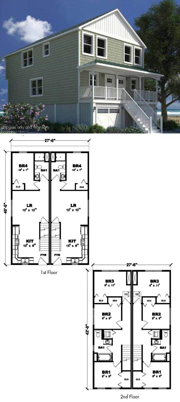 25 best duplex house plans images on pinterest for Manufactured duplex floor plans