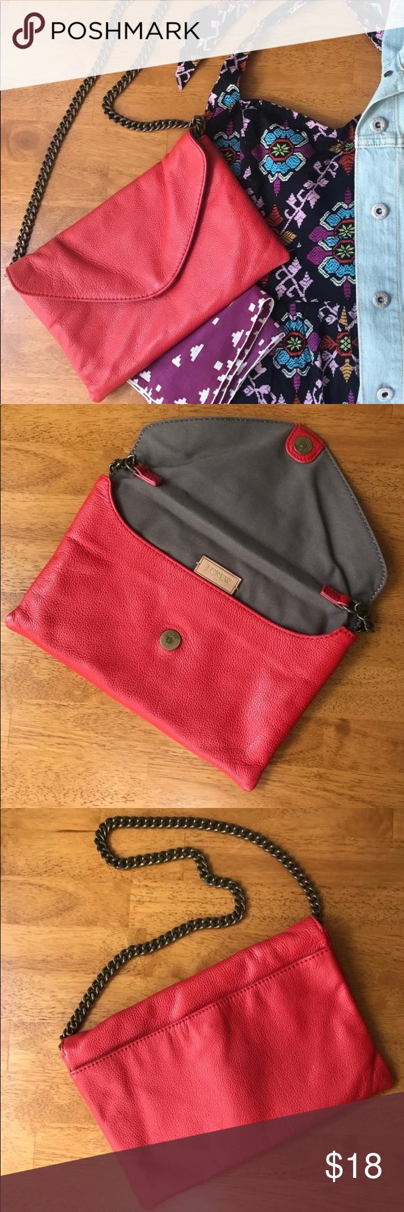 J Crew red leather clutch envelope purse J Crew red leather clutch envelope purse 👛 Great for your upcoming holiday party! J. Crew Bags Clutches & Wristlets