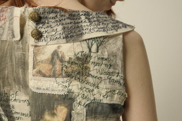 Narrative Dress by textile artist Harriet Popham - tells the story of my mother and father's  relationship | embroidery, applique and image transfer http://harrietpophamtextiles.tumblr.com/post/51631901718/harrietpophamaliceideas-narrative-dress