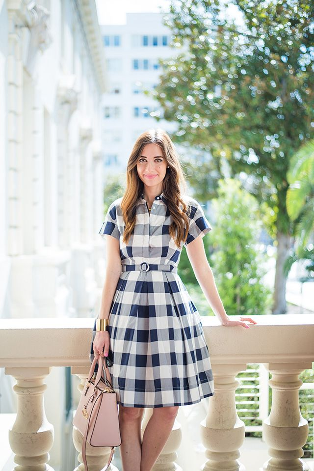 blue gingham dress M Loves M