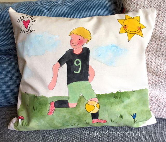 Fußballspieler Kissenbezug für Kinder aus Bio-Baumwolle, Geschenke zur Taufe