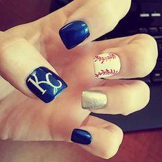 KC Royals nail design. Loved them!
