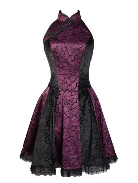 Purple Rose Printed Pattern Chinese Cheongsam Style Gothic Party Dress