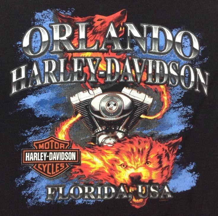 Harley-Davidson T-Shirt Large Orlando Twin Cam Engine Flame Wolf Fire Black H-D #HarleyDavidson #GraphicTee