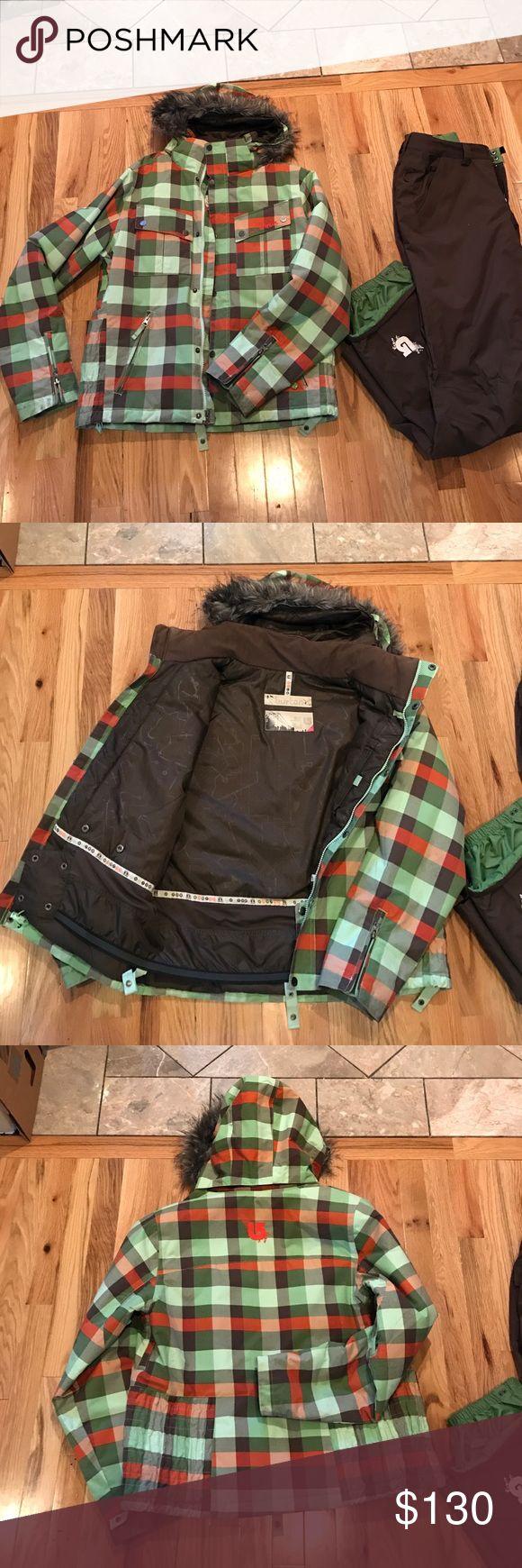 Burton ski and snow pant Green and orange checkered Burton ski jacket and brown Burton Ski pants. Large jacket and Medium pant. Good condition -  small rip at bottom of pants. Detachable faux fur and detachable hood. Burton Other