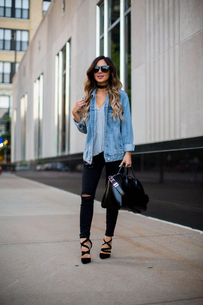 Street Style: Edgy Basics - Topshop Oversized Denim Jacket (lighter version sold out, wearing a US 4) // Nordstrom Gray Tee (favorite tee ever!) // Topshop Black Jeans (wearing a 25, size up) // Public Desire Lace-Up Velvet Heels // Vanessa Mooney Choker // Givenchy 'Antigona' Bag // Nasty Gal Sunglasses (similar here) August 31st, 2016 by maria