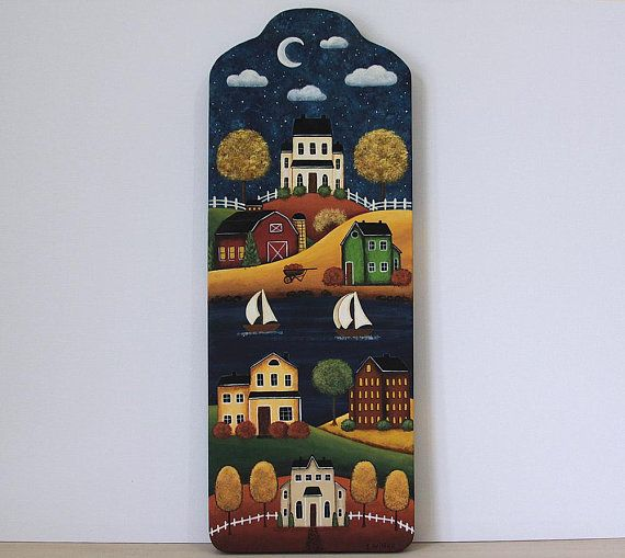 Fall Folk Art Hand Painted Bread Board, Primitive Decor, Saltbox Houses, Barn, Lake, Sailboats, Autumn Leaves, Moon, Pumpkins READY TO SHIP