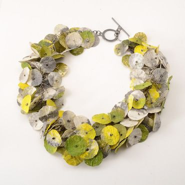 "Myung Urso ""Fiore"" Necklace, Green and Yellow Hanji Paper, Asian Ink, Acrylic Paint 19.5"" long #artjewelry #yellow #white"