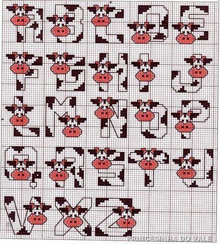 Clube Vaquinha Malhada / Clube manchado Fluffy Vaca: Uma Vaquinha da Semana / The Little Cow da Semana: Esquema de Ponto Cruz com Vacas / Esquema para Ponto Cruz com vacas