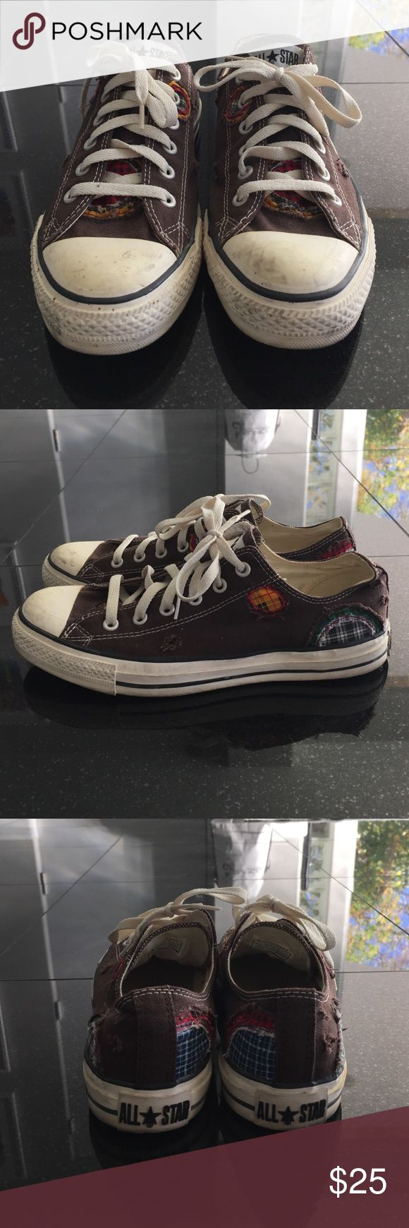 Converse shoes Men's All Star Converse. Women's size 10 or Men's size 8. Brown with multiple plaid print patches. Converse Shoes Sneakers