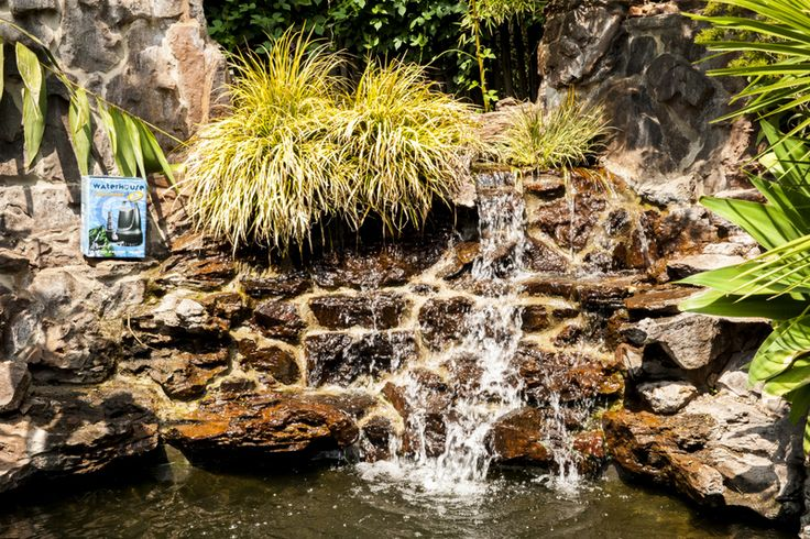 Amazing calm waterfall with beautiful koi.   This waterfall needs a powerful pump to make sure the feature is circulating and pushing high enough.   Powered by a Waterhouse 12000 litre pump.   www.waterhouse.co.za