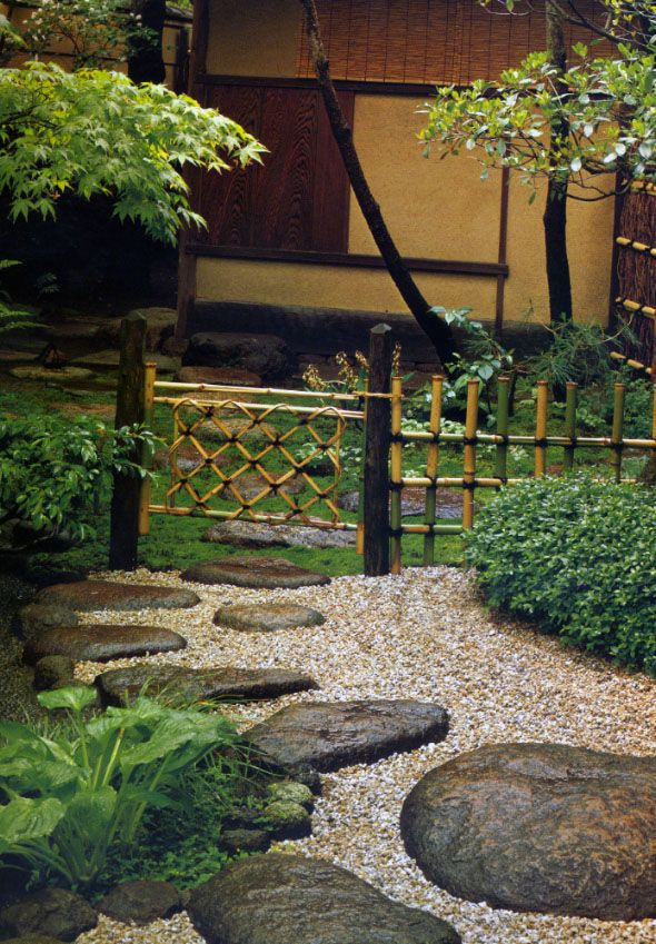1. Right - Japanese Maple 2. Center- Bamboo Gate 3. Contrasting Path of small white base and large dark stepping stones
