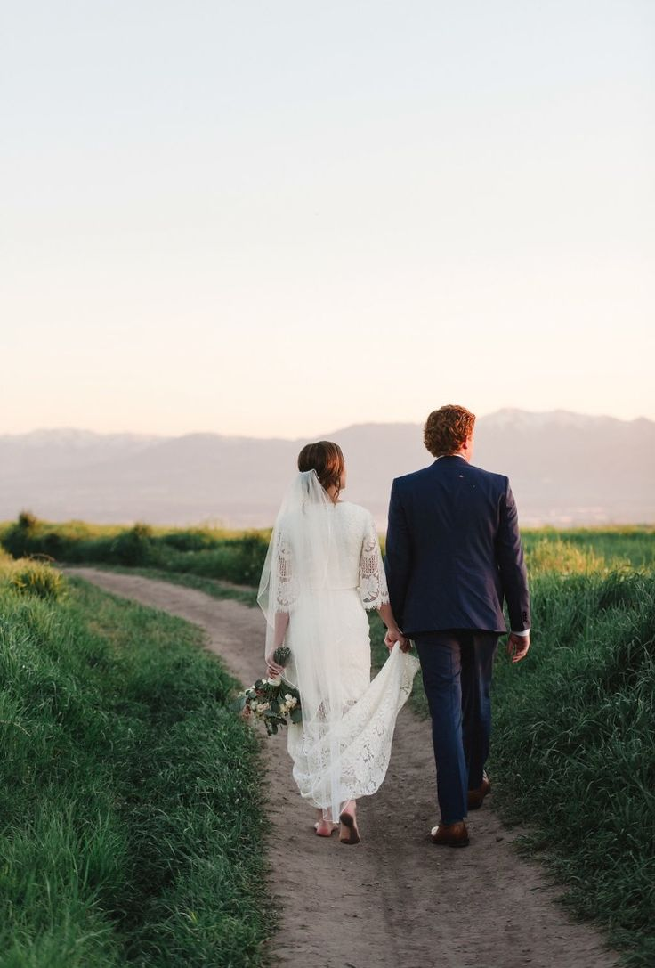 modest wedding dress with bell sleeves from alta moda. -- (modest bridal gown)