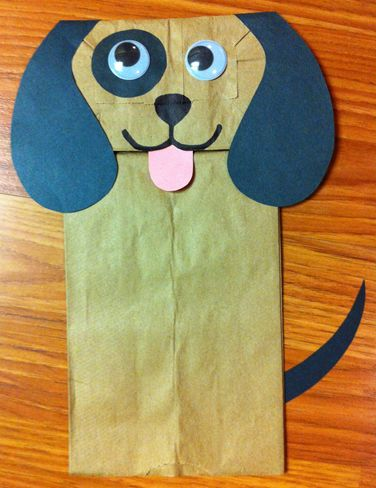 Dog. Puppy. Paper bag craft. Storytime. Preschool. Library. Home school. Every Child Ready to Read. ECRR.