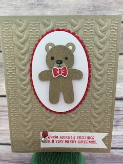 This Christmas card uses Stampin' Up!'s Cookie Cutter Christmas stamp set and Cookie Cutter Builder Punch (bundled together for a discount!). It also uses the new Cable Knit Dynamic embossing folder