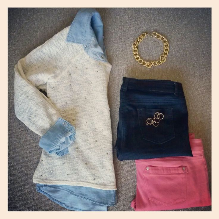 Nothing like a pretty embellished knit! Pair with dark wash jeans or brighten the look with colour skinnys. #missmouse #winteredit (this outfit: #woolworths knit, #f21 denim shirt, #woolworths dark wash jeans, #foschini colour jeans and statement necklace)