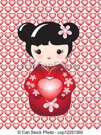 Kokeshi, Coração - csp12251360