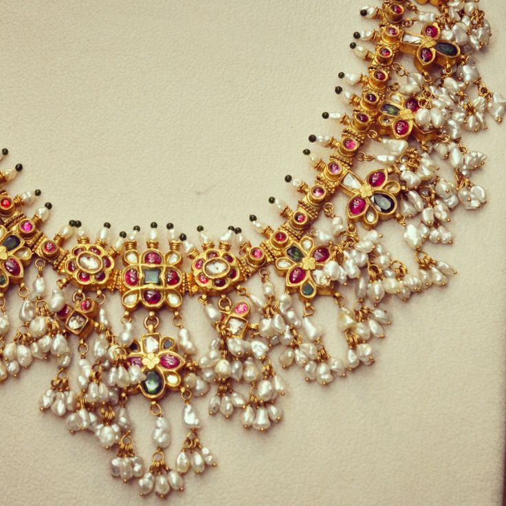 Guttapusalu (Andhra Bridal Pearl Haram) from Amrapali. Shop for your wedding jewellery with Bridelan - a personal shopper & stylist for weddings. Website www.bridelan.com #Bridelan