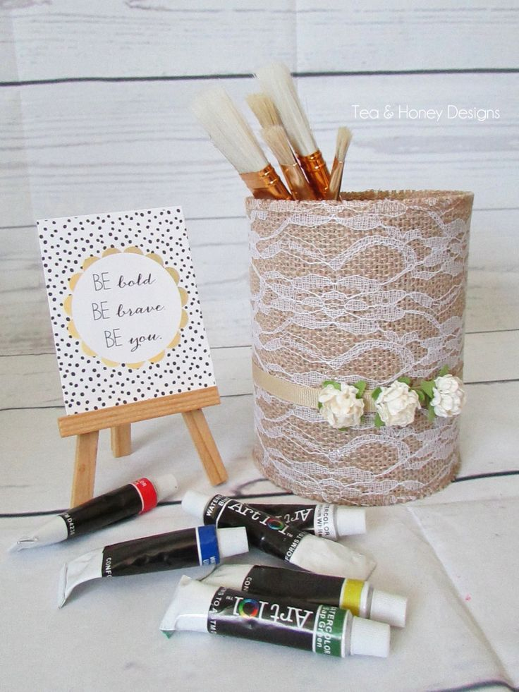 Burlap & Lace Centerpiece, Vase, Home Decor, Altered Coffee Can, Upcycled by TeaAndHoneyDesigns on Etsy