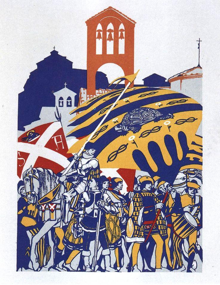 Duilio Cambellotti: Comparsa della Contrada della Tartuca (1932). Su http://www.flickr.com/photos/iltesorodisiena/8288616311