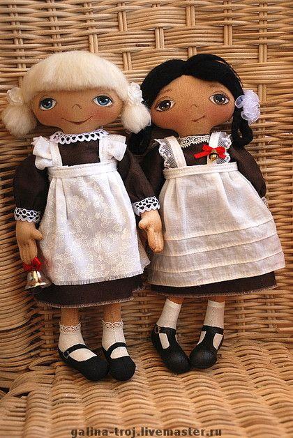 малышки - школьницы - интерьерная кукла,текстильная кукла,бязь,холофайбер