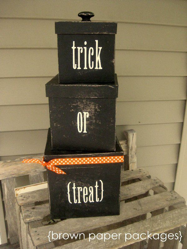 Trick or Treat Boxes...paper mache boxes, spray painted black.  Can put Halloween candy in them.  Can use at end of Halloween to store some of your small decorations in the attic.