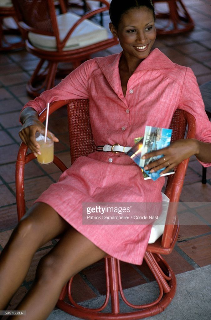 News Photo : Model Beverly Johnson wearing a soft red chambray...