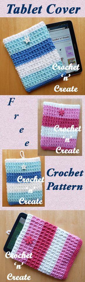 Tablet cover, free crochet pattern. #crochet