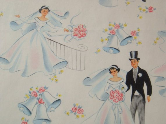 Vintage Wedding Gifts For Bride And Groom : Vintage Wrapping Paper - Bridal Shower or Wedding - Bride and Groom ...