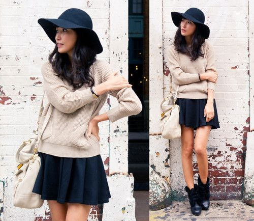 love the oversized sweater with the flowy skirt