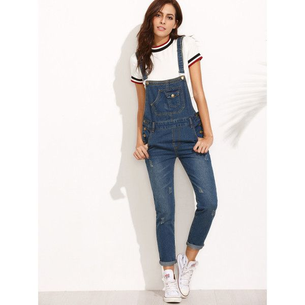 Dark Blue Straps Scratch Denim Overall Pants ($26) ❤ liked on Polyvore featuring jumpsuits, blue, white jumpsuit romper, romper jumpsuit, blue romper, bib overalls and denim bib overalls