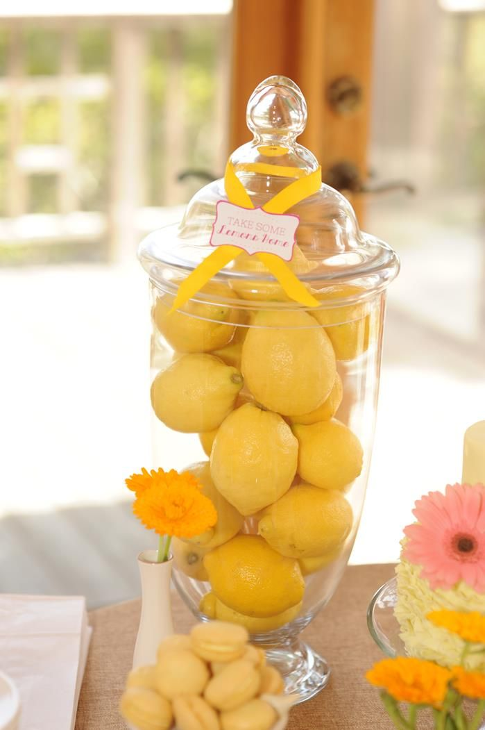 Lemon filled apothecary jar