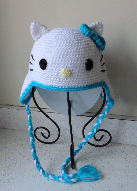 Crochet Hello Kitty Earflap Beanie Hat - Etsy $22.00: