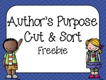 I think cut and sort activities can be really helpful and my students really enjoy them. I made this cut and sort to review Author's Purpose. I hope you enjoy it!