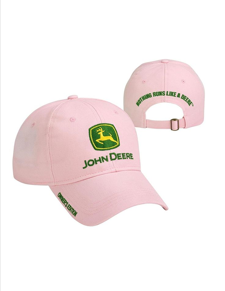 John Deere Pink Owner's Edition Cap JD Hat Made by #John Deere Color #Pink. John Deere Pink Owner's Edition Cap. Structured Front. Nothing Runs Like a Deere Over the Cloth and Brass Slide. John Deere Licensed Merchandise