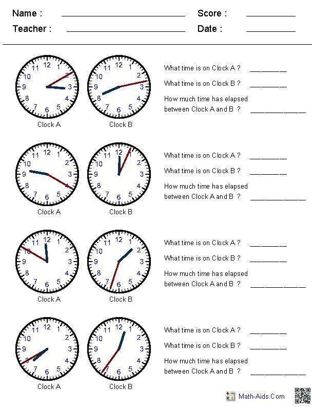Time Worksheets에 관한 15개의 최상의 Pinterest 이미지